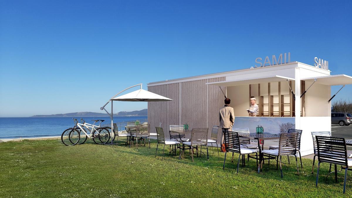 Diseño de los nuevos quioscos de playa propuestos por el Concello.