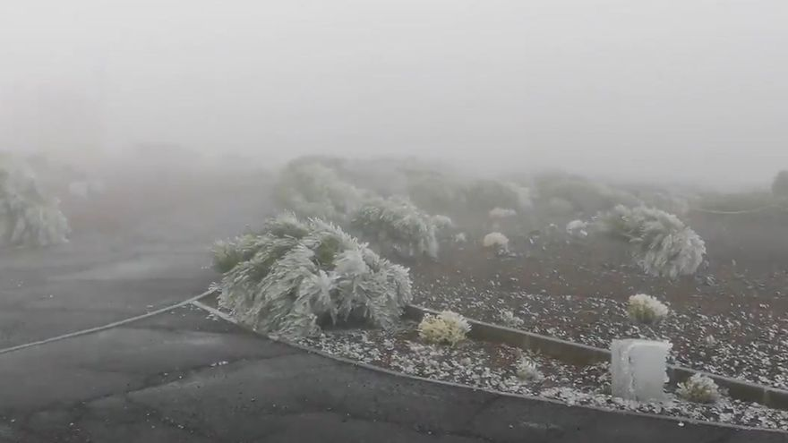 Llega el frío al Teide y empieza a teñirse de blanco