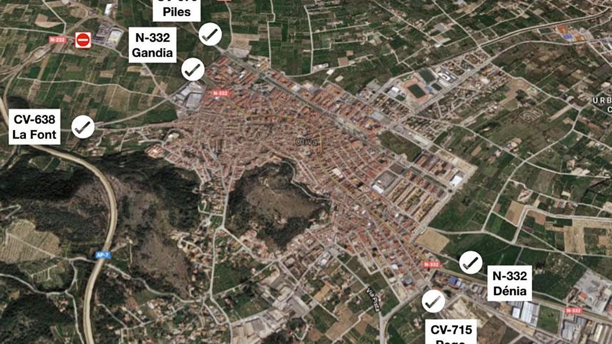 Los cinco puntos indicados por el ayuntamiento para entrar y salir de Oliva. | LEVANTE-EMV