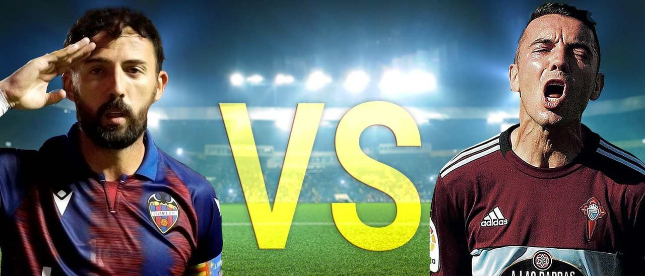 Morales celbra un gol con el Levante y Aspas uno con el Celta