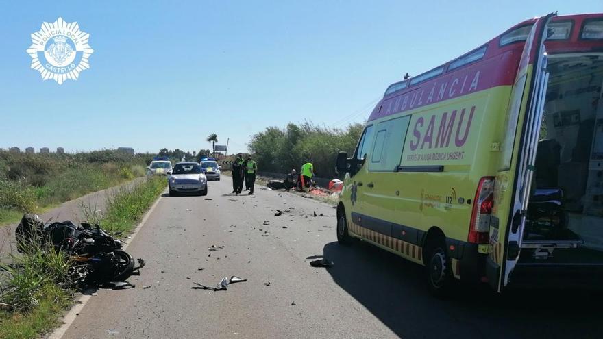 Fallecen dos motoristas en un accidente de tráfico en un camino en Benicàssim