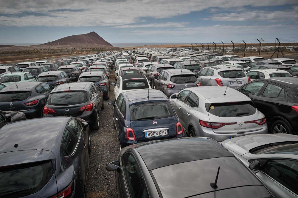 Coches de alquiler aparcados en un descampado de Tenerife Sur Coronavirus COVID19  | 21/03/2020 | Fotógrafo: Andrés Gutiérrez Taberne