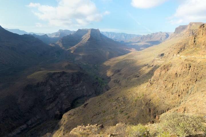 Vistas del barranco de Fataga desde el mirador Degollada de la Yegua