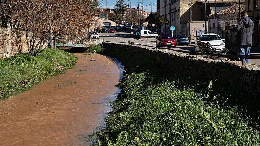 El arroyo de Valorio, a rebosar en Zamora