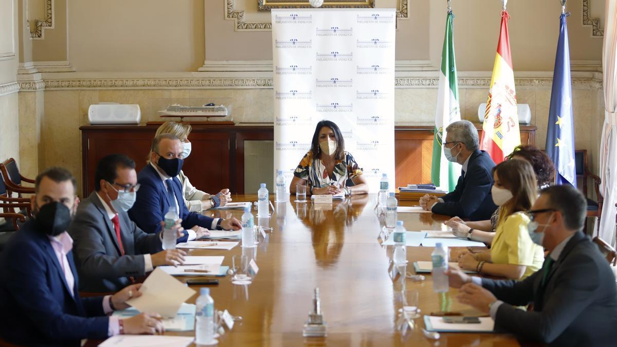 Marta Bosquet preside la reunión de la Mesa del Parlamento celebrada en Málaga.