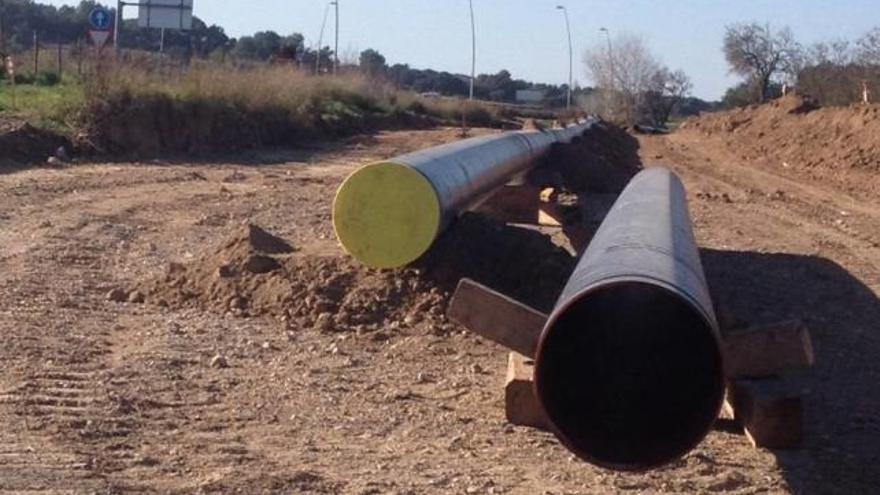 Cortes en la antigua carretera de Manacor por las obras del gasoducto