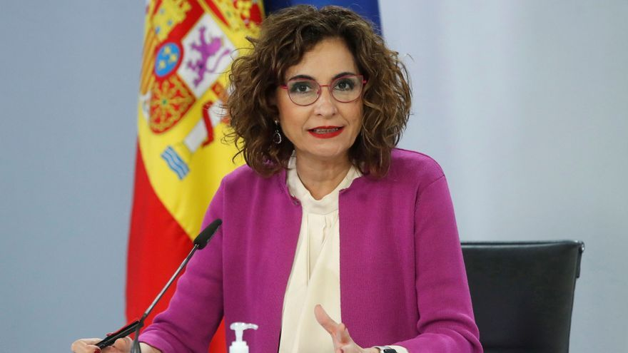 Una imagen de María Jesús Montero durante la rueda de prensa.
