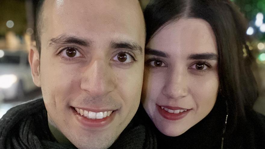 Laura y Dani, pareja binacional, en Haifa (Israel) en diciembre de 2019.