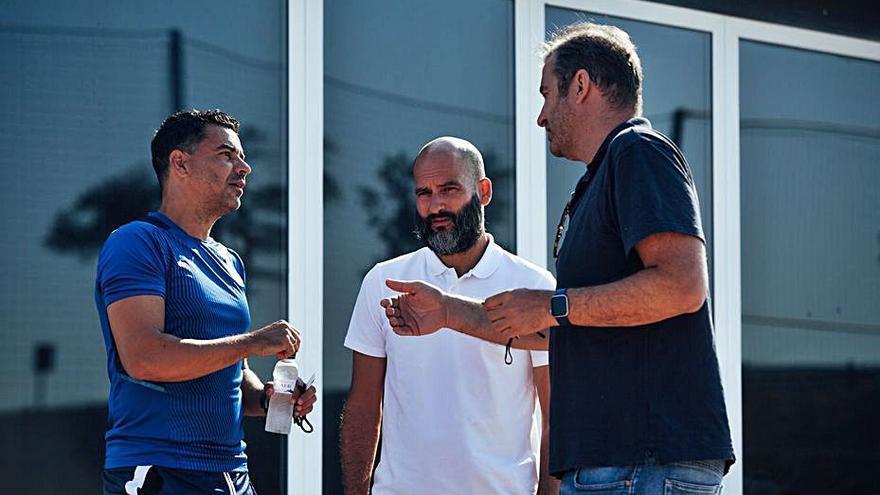 Pere Guardiola i Ferran Soriano visiten l'entrenament