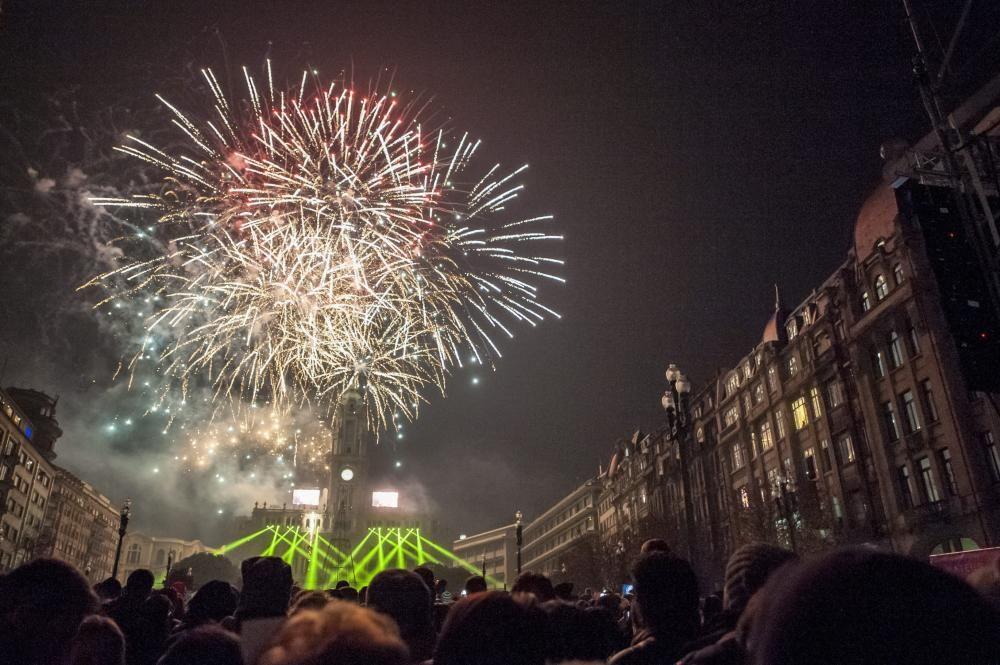 New Year's Eve celebration in Porto