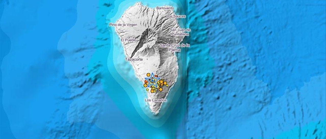 Mapa de La Palma en el que se muestra la localización de los seísmos.