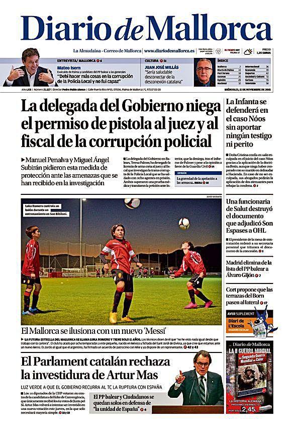 El 11 de noviembre de 2015 Diario de Mallorca dedicó a Luka Romero la portada de su diario y un amplio reportaje del jugador, quien empezaba a despuntar en el fútbol base del Mallorca.