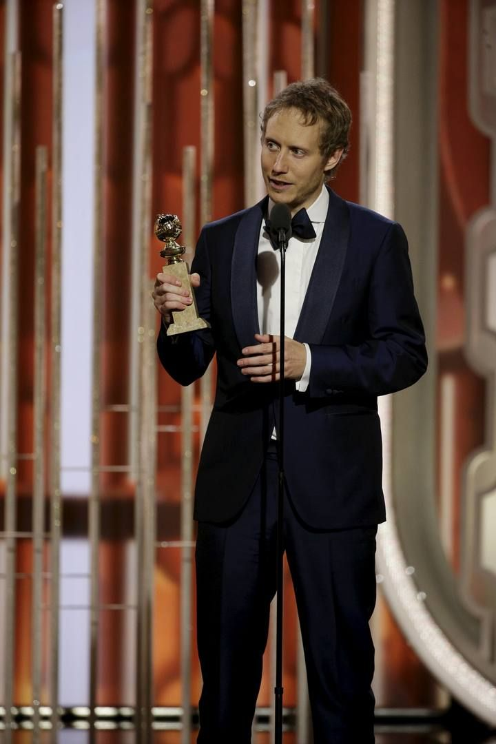 "Nemes speaks after ""Son of Saul"" won the  Best Motion Picture, Foreign Language, at the 73rd Golden Globe Awards in Beverly Hills"