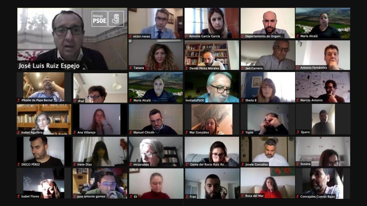 Reunión telemática de la Comisión Ejecutiva Provincial del PSOE de Málaga.