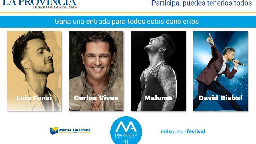 SORTEO #RUTAMARABIERTO: ¿Quieres ir a los conciertos de Luis Fonsi, Carlos Vives, Maluma y David Bisbal?