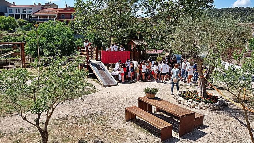 Mestres i alumnes d'una escola de Castellolí  fixen les millores d'un parc