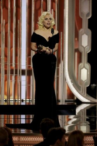 """Lady Gaga speaks after winning Best Actress - Limited Series or TV Movie for her performance in """"American Horror Story: Hotel"""", at the 73rd Golden Globe Awards in Beverly Hills"""