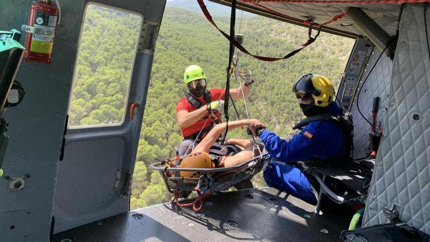 Evacuada en helicóptero una senderista con el tobillo fracturado en Sierra Espuña