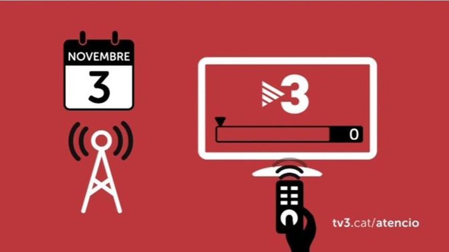 A Girona, Tarragona i Lleida pot ser necessari ressintonitzar els canals de TV3