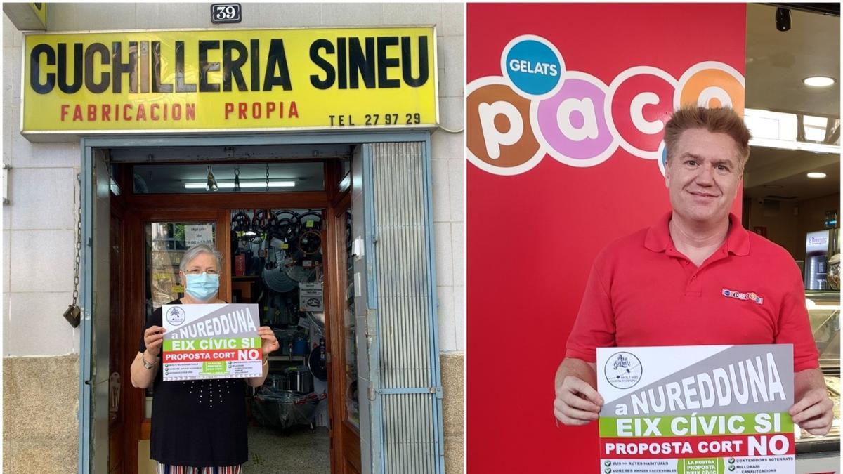 Propietarios de comercios emblemáticos de Pere  Garau posan con un cartel de la campaña frente a sus establecimientos.