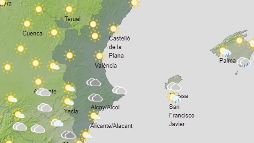 Las lluvias descargarán con fuerza en el litoral sur de Valencia y norte de Alicante antes de despedirse de la Comunitat