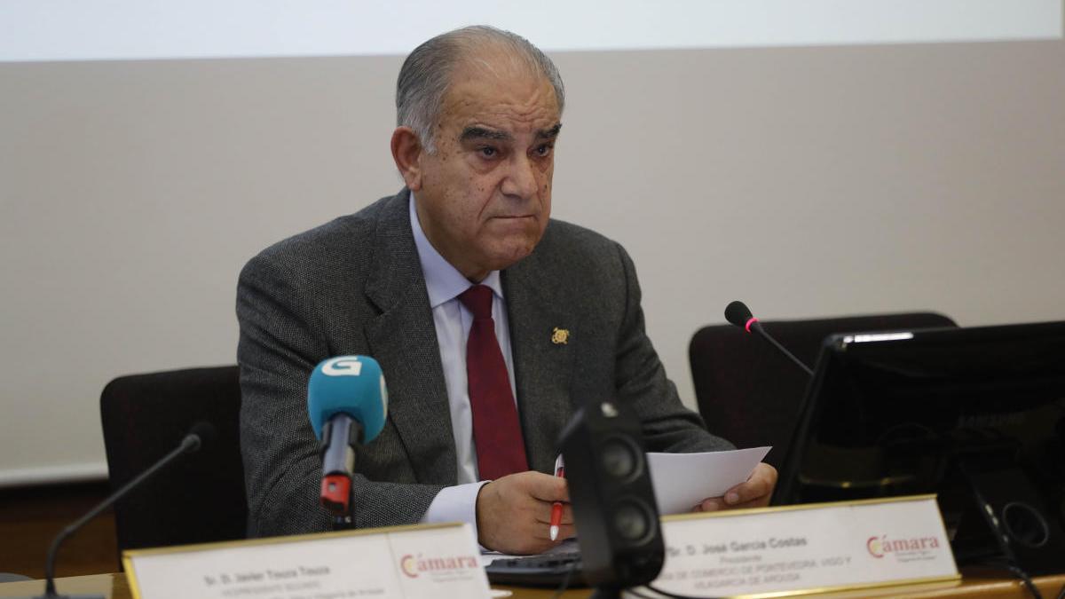 José García Costas en una comparecencia ante los medios. // Ricardo Grobas