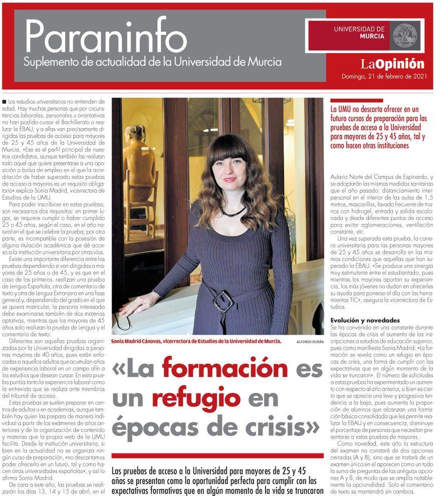 Paraninfo, suplemento de actualidad de la Universidad de Murcia