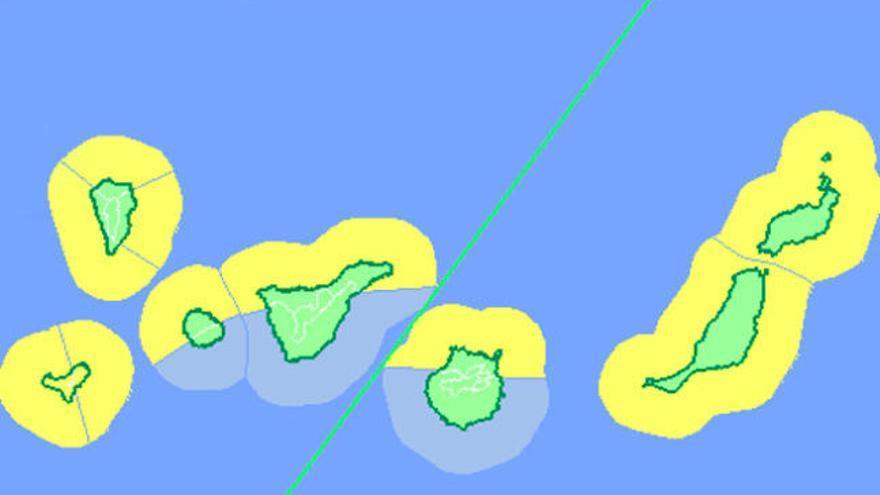 Alerta amarilla en Canarias por fuerte viento y oleaje