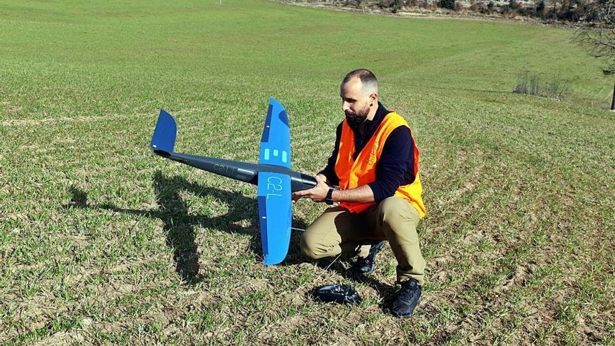 Drons que vigilen les vaques brunes dels Pirineus des del cel
