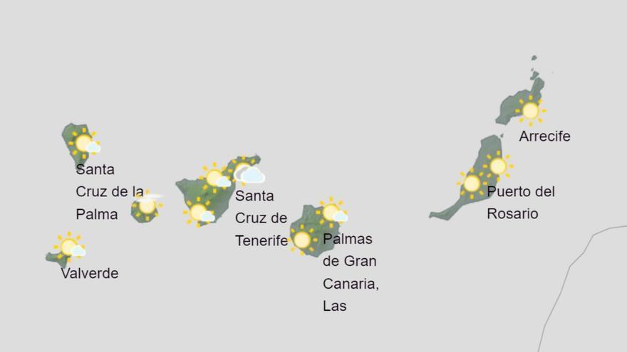 Ligero aumento de las temperaturas este domingo en Canarias