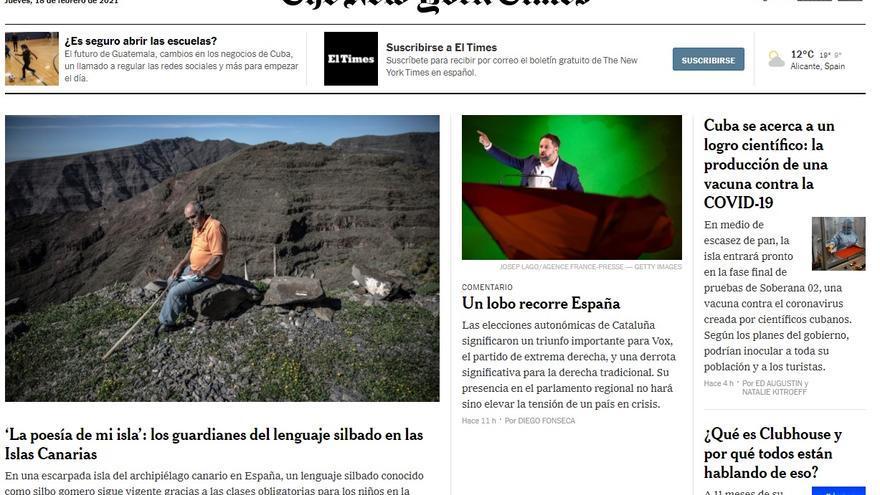 El silbo gomero, portada de 'The New York Times'
