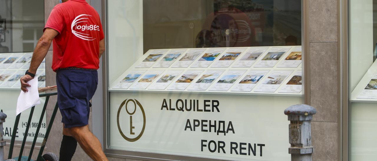 Carteles de alquiler en una inmobiliaria de Alicante.