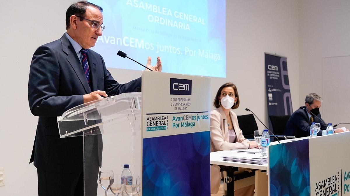 Javier González de Lara, en su intervención en la asamblea de la CEM.