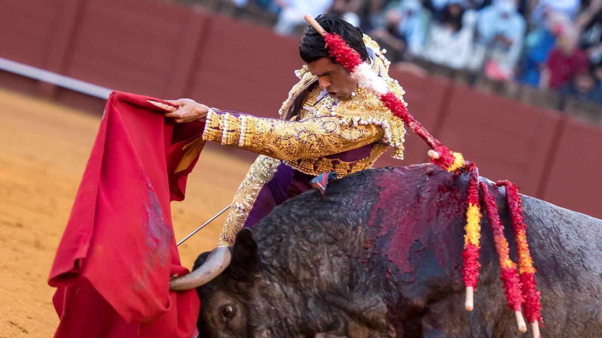 Emilio de Justo ante uno de sus toros.