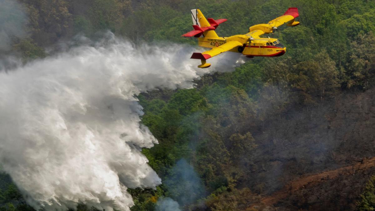 Un avión dispersa agua para sofocar las llamas de un incendio en Lugo.