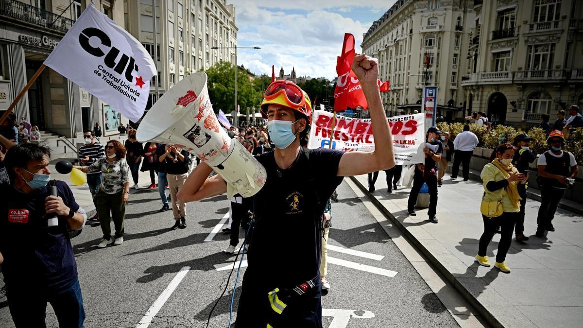 Manifestación de interinos en Madrid.