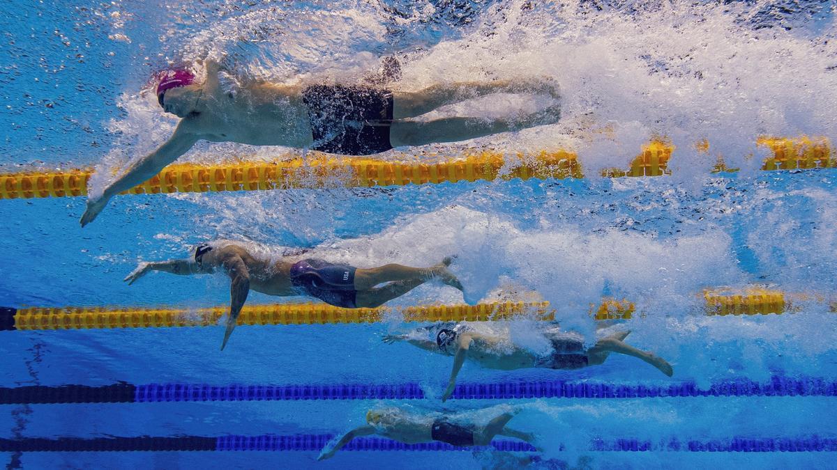 Imágen de las pruebas de natación diarias en Tokio 2020.