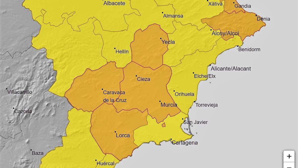 Alertas naranajas y amarilla en la Región.