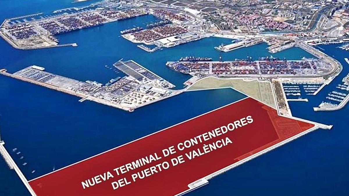 Simulación de la futura ampliación norte del Puerto de València | LEVANTE-EMV