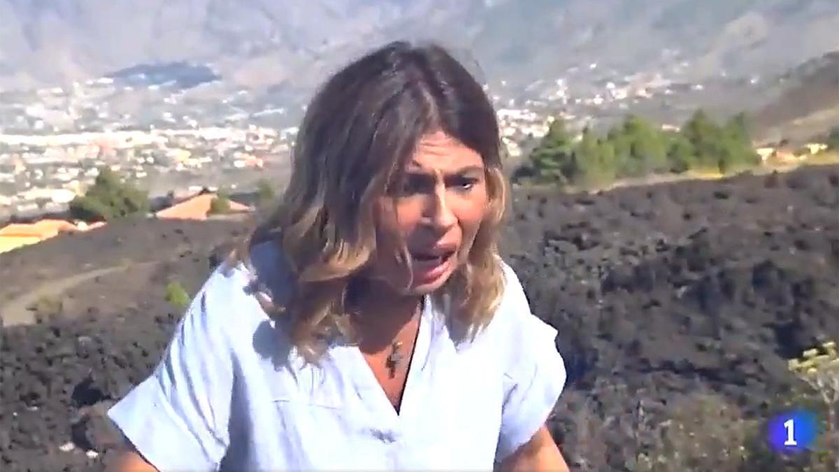 La periodista de TVE, en el momento del temblor.