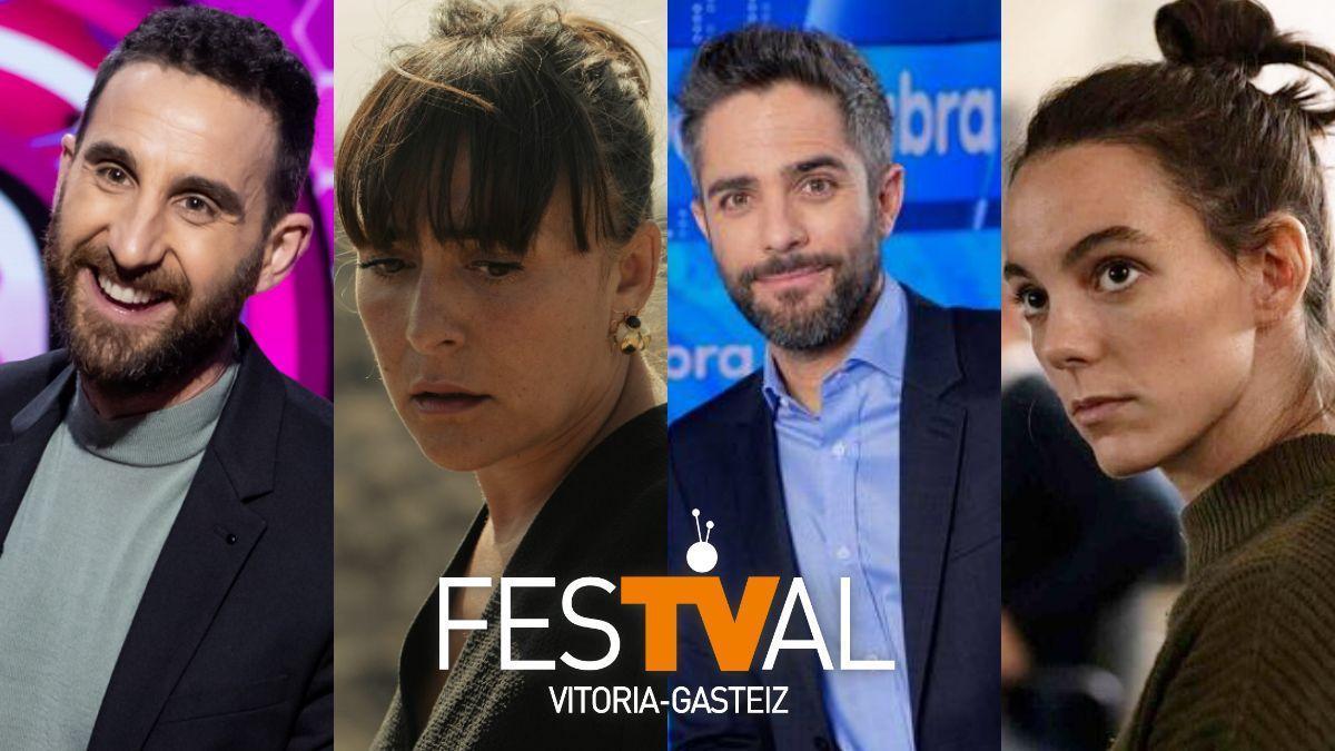 Dani Rovira en 'La noche D', Candela Peña en 'Hierro', Roberto Leal en 'Pasapalabra' y Vicky Luego en 'Antidistubios', premiados en el FesTVal 2021.
