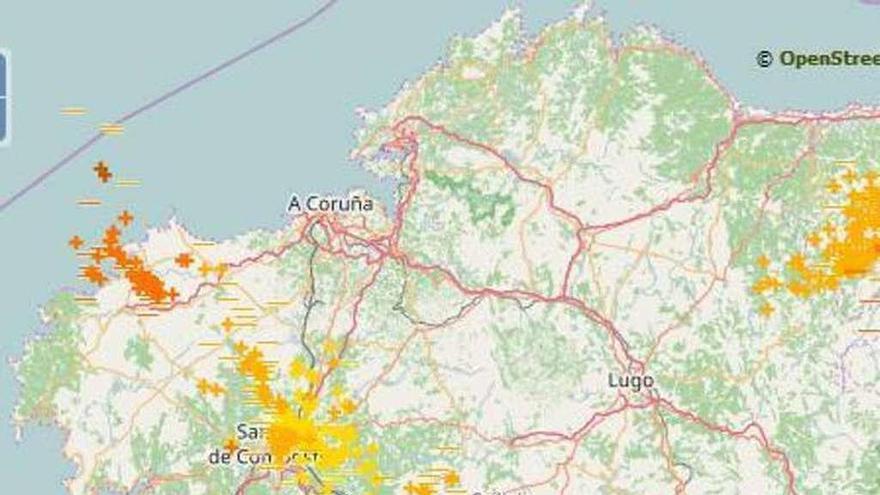 Galicia pasa en horas del día más caluroso del año a tormentas con más de 2.000 rayos