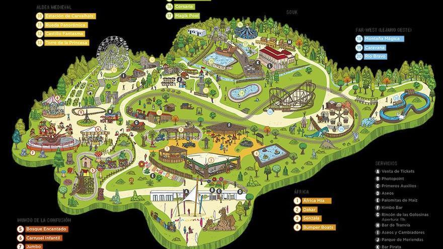 Plano del parque de atracciones Magikland.
