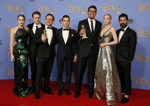 "Producer Sam Esmail poses with the award for Best Television Series - Drama for ""Mr. Robot""  with the cast and crew backstage at the 73rd Golden Globe Awards in Beverly Hills"