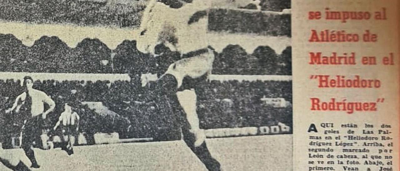 Fotografía de la edición del 16 de septiembre de 1968 del Diario de Las Palmas en el que José Juan marca en el Heliodoro.     LP/DLP