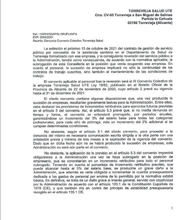 Imagen del escrito remitido por Sanidad a Ribera Salud