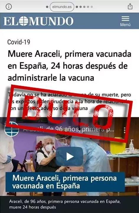 Bulo sobre la muerte de Araceli, la primera vacunada en España