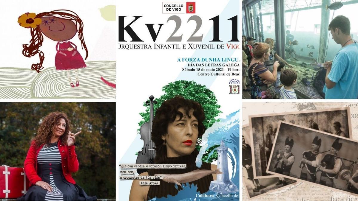 Varias de las actividades programadas en Vigo durante el puente del Día das Letras Galegas 2021.