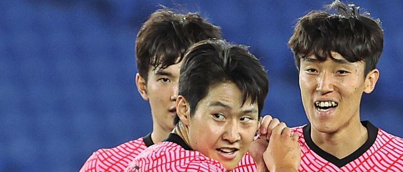 Kang In Lee celebra un tanto durante los JJ OO. | EFE