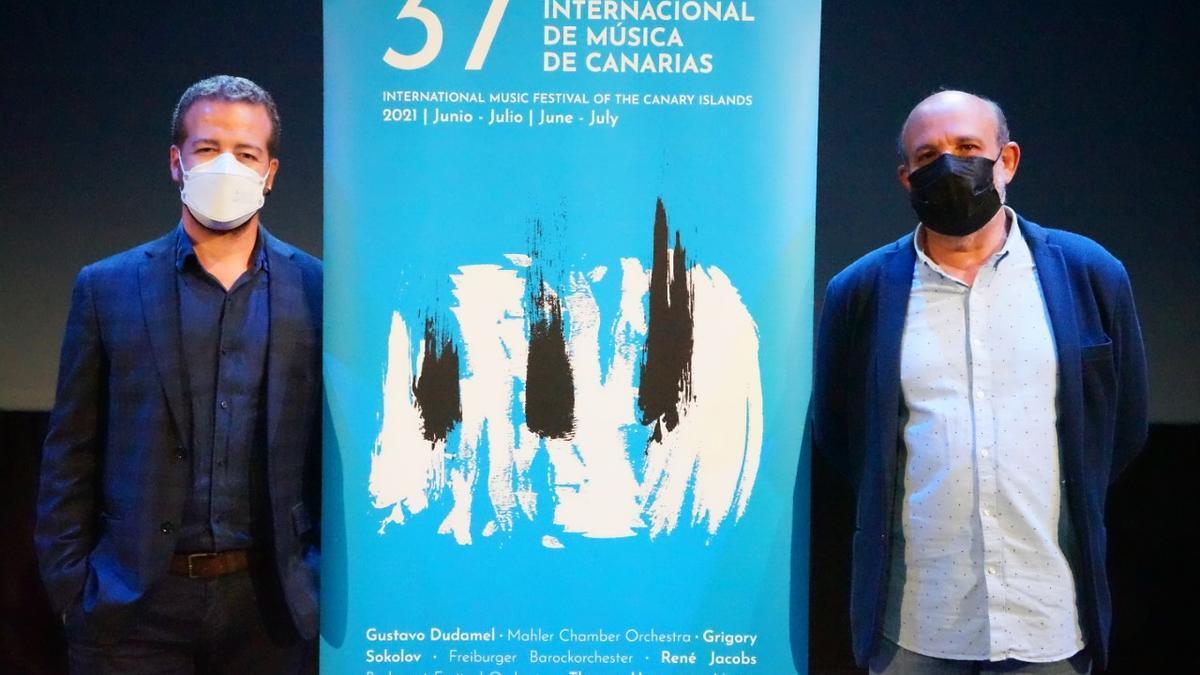 Juan Márquez y Jorge Perdigón en la presentación del 37 Festival de Música de Canarias